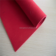 Red color thick wool felt