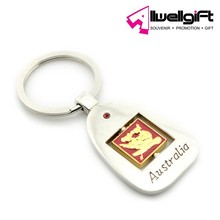 Custom shaped zinc alloy blank metal keychain with doming decal for Australia