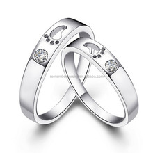 SRR0042 Most Wanted Products Footprint Hollow CZ Diamond Setting 316L Stainless Steel Wedding Ring