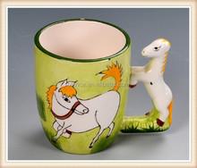 Caballo de cerámica taza forma 3d horse diseño