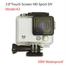"""2.0"""" Touch Screen Cheap HD1080P Sport Camera 50M Waterproof 120Degree Wide Angel Lens 8X digital Zoom 5Color Available"""