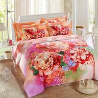 4 pcs queen size bedding set 3D printing bedroom set handloom 3d bedsheet 100% cotton flower printed bedsheets