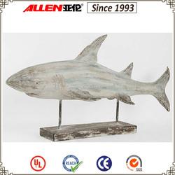 34 cm resin wood shark statue indoor decorative, resin sea animal statue