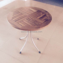 OT-401 Stainless steel teak side table