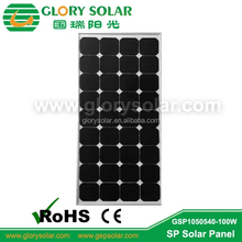 high transperancy glass 100W monocrystalline solar panel with sunpower solar cell from China factory directly