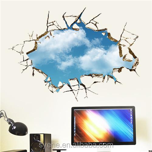 3d 가짜 창 벽 데칼 블루 스카이 깨진 벽 스티커 이동식 3d 사진 홈 ...