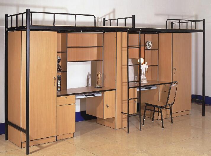 Moderne mtal superposs tudiant lit avec bureau dordinateur et