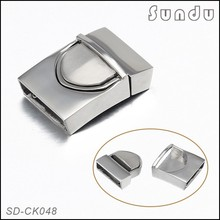 Stainless steel jewelry findings push button deployant flat leather clasp for bracelet