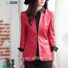 traje de alta calidad de moda de otoño de cuero geninue chaqueta de mujer