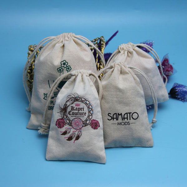 2015 creative eco personalized logo screen printed unbleached natural drawstring cotton bags wholesale