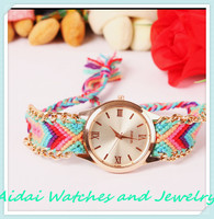 2015 Watch For Friendship Rope Geneva Watches, Fashion Cotton Woven Band Lady Quartz Watches