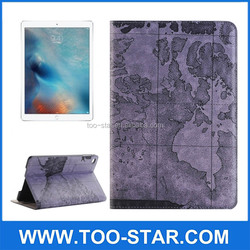 Map Pattern Stand Flip Leather Cover Case For iPad Pro