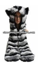 ladies cute faux fur animal hood hat
