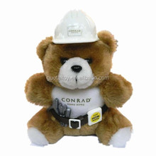 plush work bear with safe hat plush animal toy
