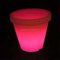 PE plastic garden waterproof glowing led garden decoration pot for outdoor