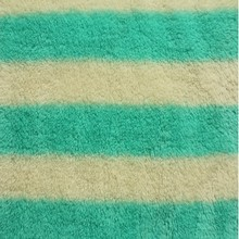 green and white stripe Sherpa fabric for quilt