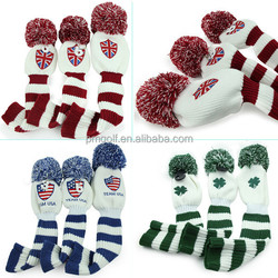 Golf club head covers for driver #1 #3 #5 knitted material custom head cover, many colors for choice