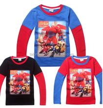 autumn boy big hero t shirt long-sleeve kid baymax tee big hero 6 top
