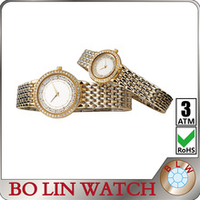 metal diamonds couple watches/japan movement/A grade stones/high quality IPG/your logo available, elegance watch