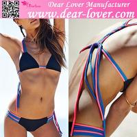 2015 wholesale Fashion Beach Sporty Macrame sexiest girls transparent bikini