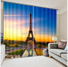 Newest Hot curtain designs window curtain 3D digital printing with Paris Eiffel Tower designs