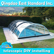 East Standard easy assembly retractable polycarbonate sheet swimming pool roof cover