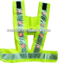 High Visibility Fluorecent Reflective Solar Powered Flickering Safty LED Vest with Bright LED Lights