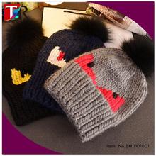 2015 famous rib knit sheep wool winter hat monster pom pom beanie hat