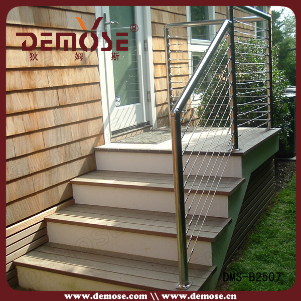 Outdoor stair railing kit stainless steel cable railing for Balustrade aluminium exterieur