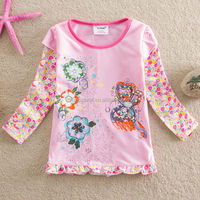 2-6Y (65515#PINK) butterfly embroidered cotton long sleeve winter baby girls fancy t shirt