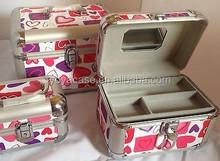 Aluminium 3 piece Gorgeous Makeup or Jewelry Case w/trays HEARTS