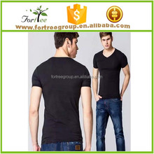 plain mens V neck t- shirt made of 100% cotton slim fit style