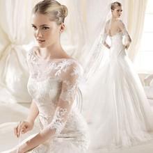 Luxury Mermaid Beteau Open Back Half Sleeve Court Train Lace Wedding Dress 2015
