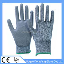 CE HPPE Grey PU Palm Coated Level 5 Prevent Cutting Work Gloves