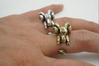 2015 New Fashion Cute Ram Animal Wrap Ring for Women Adjustable Sheep Retro Women ring
