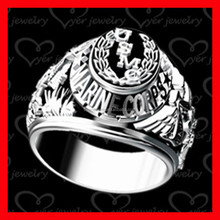 2015 hot sale! Stainless steel military ring with high polishing