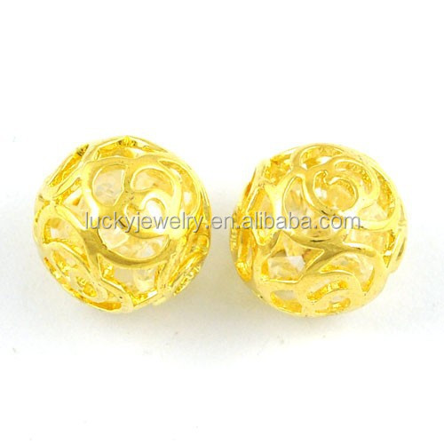 Jewelry findings accessory hollow ball 14k gold beads for Wholesale 14k gold jewelry distributors