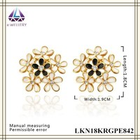 Country Brief Style Little White Flower Earring,Yellow Gold Plated Jewelry For Women