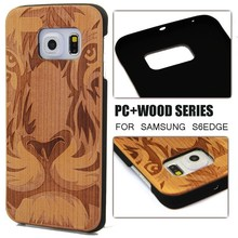 Engraving pc wood case for Samsung S6 edge,wood cover for Samsung S6 edge accept paypal