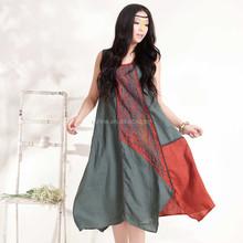 Jiqiuguer marca Original étnica Retro bordado Design Casual Patchwork vestido