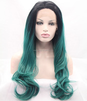 Wholesale price green ombre wig dark root long body wave wig synthetic lace front wigs heat resistant fiber long hair