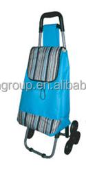 Hangzhou Fashion Oxford Fabric Portable Sky Blue Shopping Trolley/Shopping Bag With Wheels