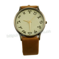 7X Color 2013 Big Dial Case Leather Strap Watch Orange D00028Z