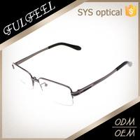 Square half rimless titanium frames eyeglasses for reading