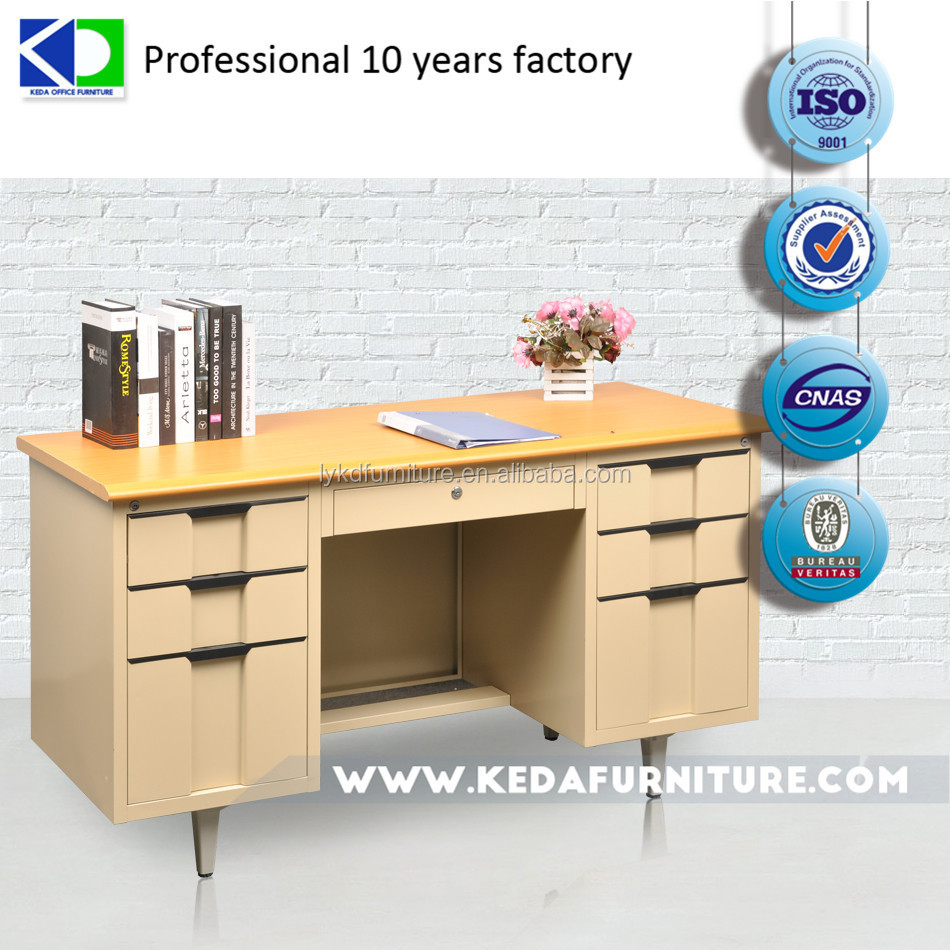 Steel Desks With Wooden Top Steel Office Desk With 3 Drawers