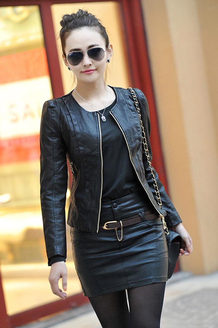 Куртки кожаные женские черные