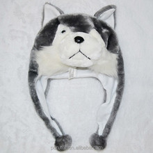 plush husky short type animal head hats