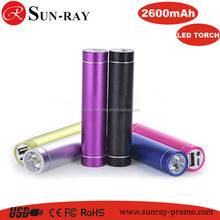 portable cylinder tube powerbank battery charger Power bank with let light