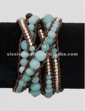 Cheap Light Blue Semiprecious Stone and Silver Beads Fashion Leather Bracelets 2012