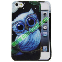 Wholesale Blue Owl Pattern TPU Powder Case for iPhone 5S & 5 at Factory Price